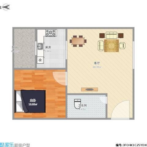 泛华大厦1室1厅1卫1厨69.00㎡户型图