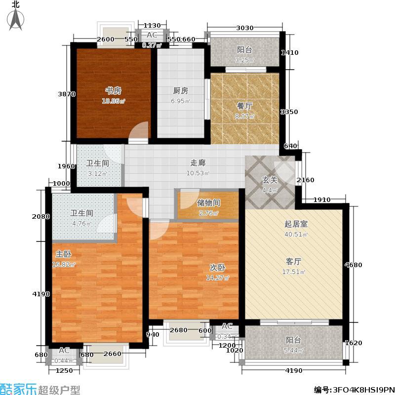 海尚佳园126.05㎡房型: 三房; 面积段: 126.05 -140.95 平方米;户型