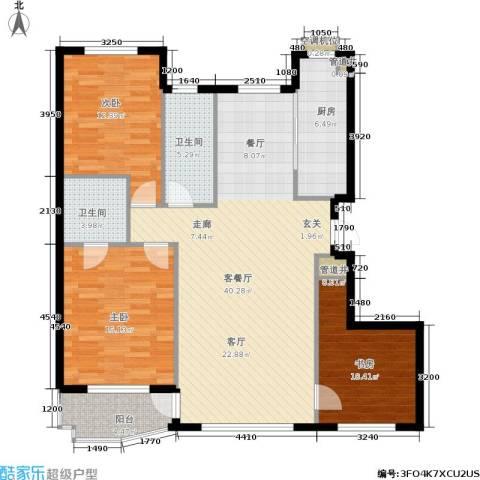 欣怡花园3室1厅2卫1厨110.00㎡户型图