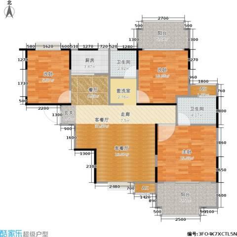 东方新城3室1厅2卫1厨102.00㎡户型图