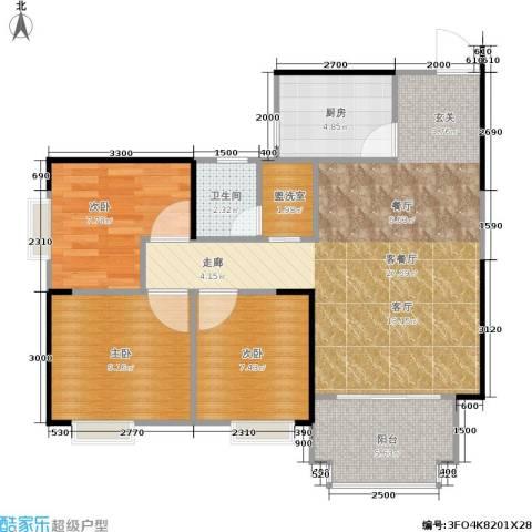 东方新城3室1厅1卫1厨88.00㎡户型图