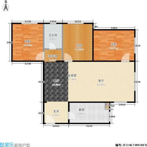 龙河雅居3室0厅1卫1厨106.00㎡户型图