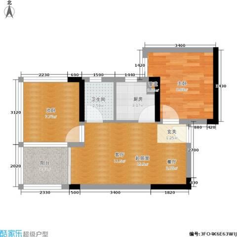 绿景香颂2室0厅1卫1厨51.00㎡户型图