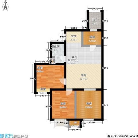 筑石派3室0厅1卫1厨92.00㎡户型图
