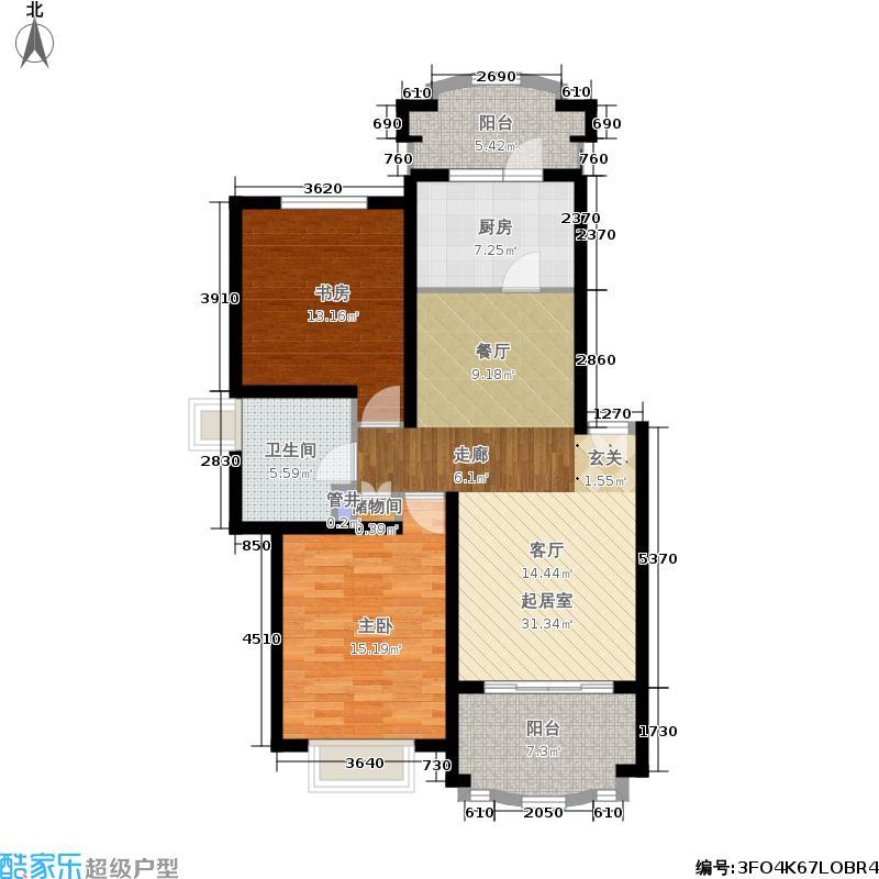 巴黎时尚97.00㎡房型: 二房; 面积段: 97 -97.67 平方米; 户型
