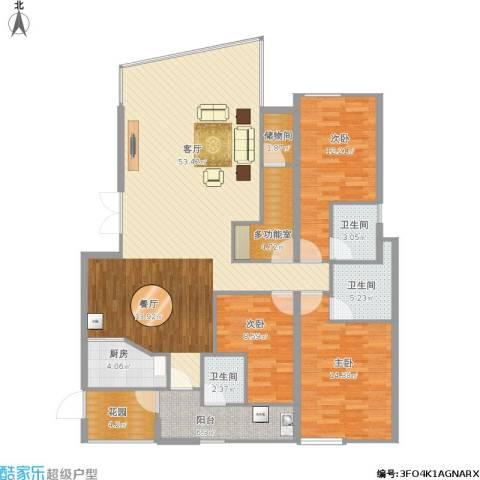 锦绣华庭3室1厅3卫1厨165.00㎡户型图