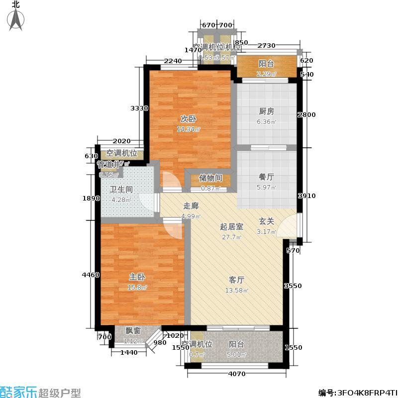绿地崴廉公寓C2户型 2室2厅1卫1厨户型