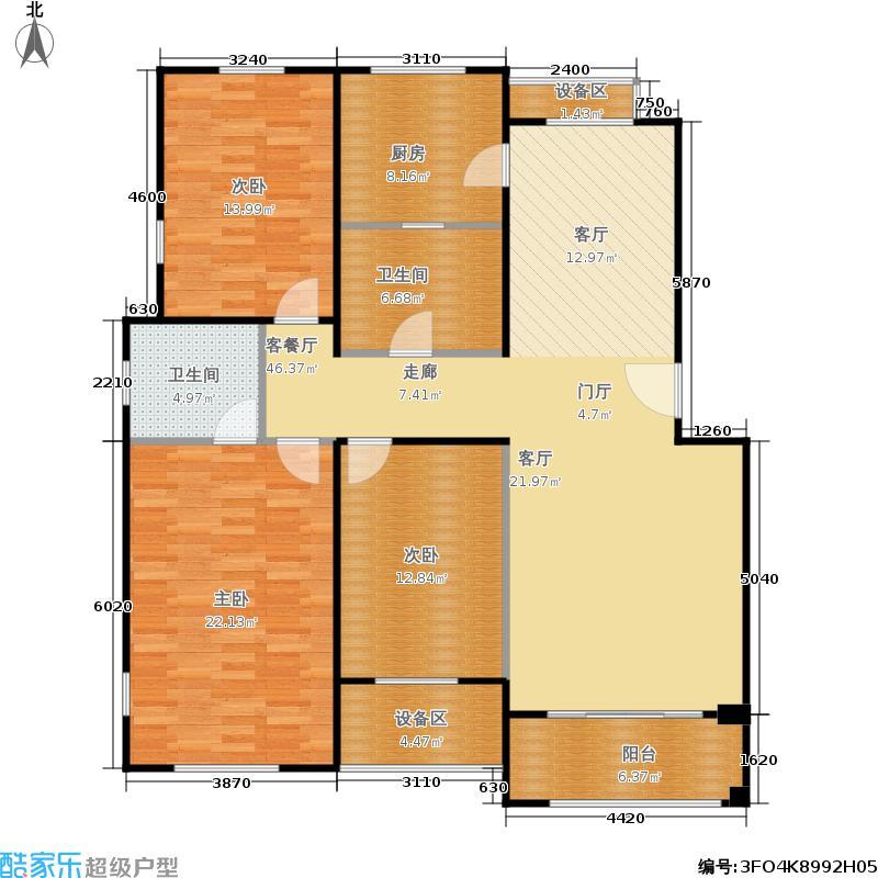 塞纳香堤130.70㎡C3三室一厅二卫户型