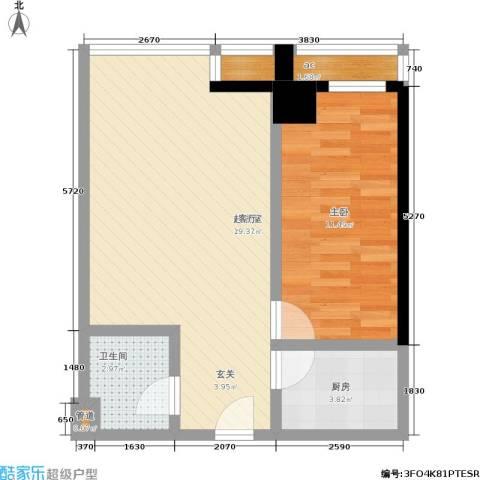 QQ生活馆1室0厅1卫1厨64.00㎡户型图