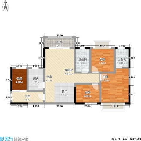 都市兰亭4室0厅2卫1厨90.00㎡户型图