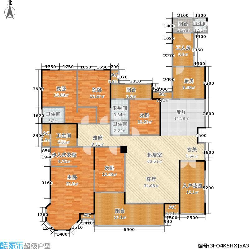 第六都250.00㎡21号楼A户型6室2厅4卫