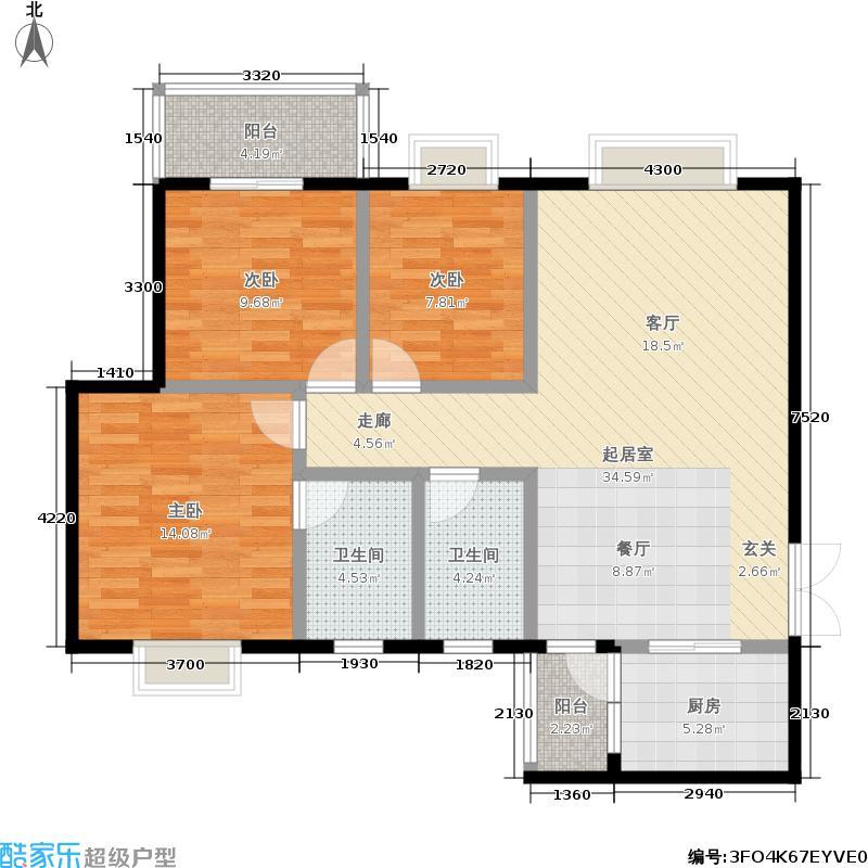 英郡年华109.00㎡F1户型三室两厅两卫户型2室2厅1卫