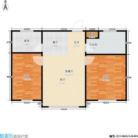 春天花园2室1厅1卫1厨101.00㎡户型图