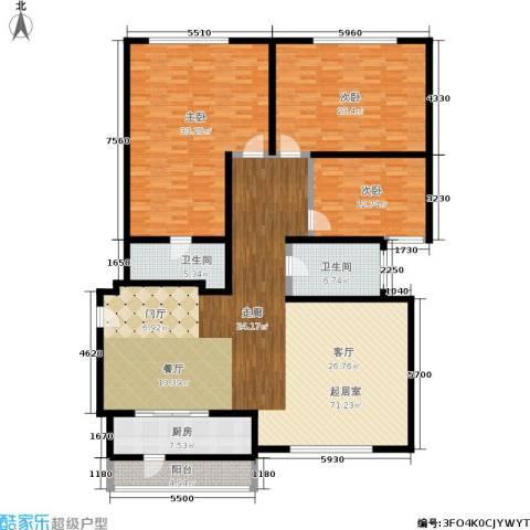 新城国际3室0厅2卫1厨184.00㎡户型图