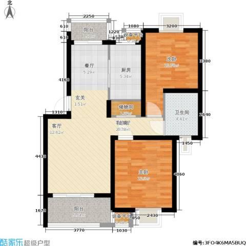 新天地荻泾花园2室1厅1卫1厨80.00㎡户型图