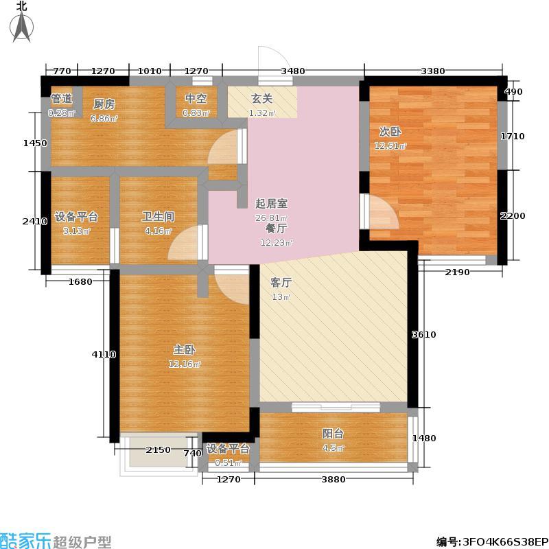 郁金香中心85.00㎡B户型宽景公寓户型2室2厅1卫