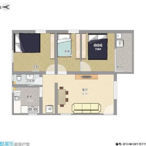 鹭江小区1室1厅1卫1厨72.00㎡户型图