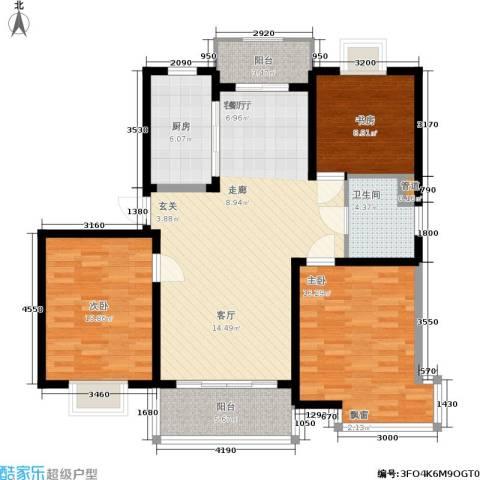 嘉骏香山苑3室1厅1卫1厨106.44㎡户型图