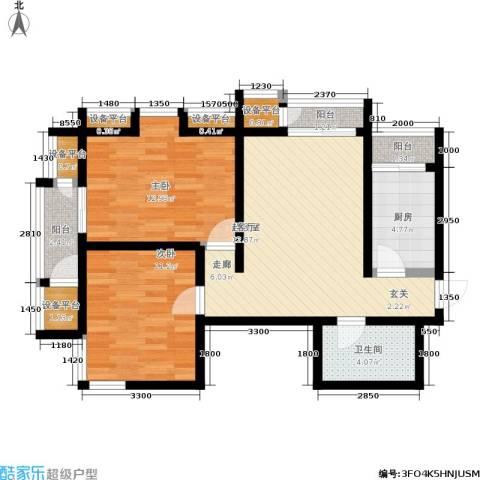 天保金海岸明珠湾2室0厅1卫1厨90.00㎡户型图