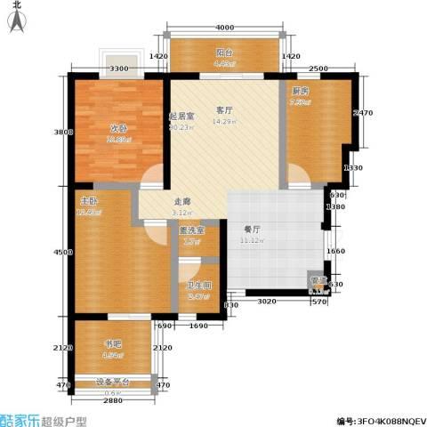 曲江观唐2室0厅1卫1厨78.00㎡户型图