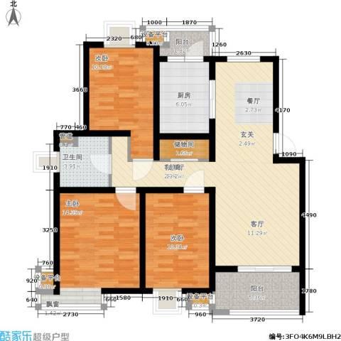新天地荻泾花园3室1厅1卫1厨100.00㎡户型图