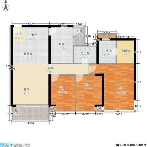 雍翠雅园3室0厅2卫1厨132.00㎡户型图