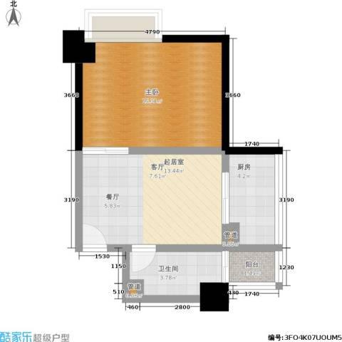 南门国际1室0厅1卫1厨46.00㎡户型图