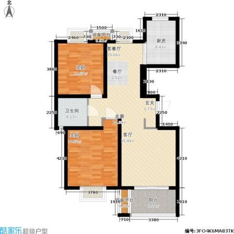 新天地荻泾花园2室1厅1卫1厨90.00㎡户型图