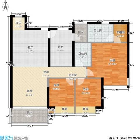 雍翠雅园3室0厅2卫1厨119.00㎡户型图