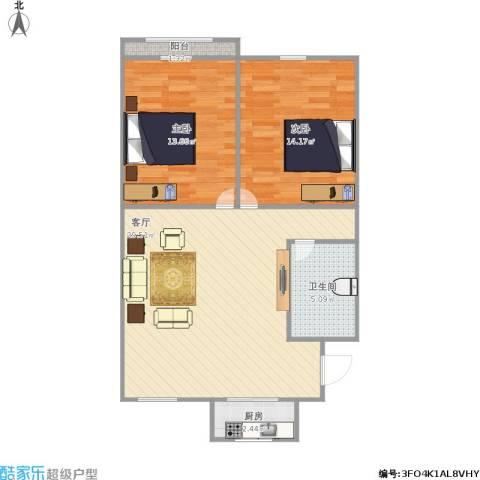 湖滨苑2室1厅1卫1厨89.00㎡户型图