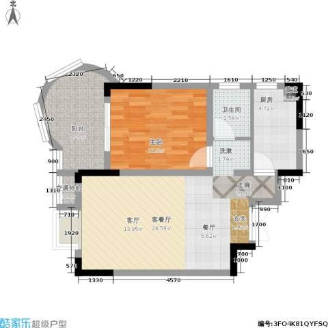 曙光泊岸1室1厅1卫1厨65.00㎡户型图