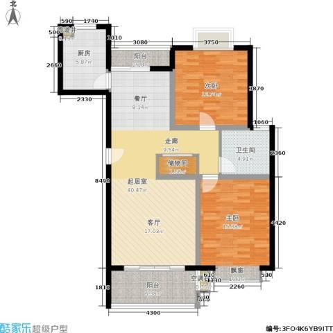 夏阳湖国际花园2室0厅1卫1厨97.00㎡户型图