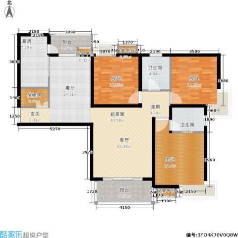 地杰国际城3室0厅2卫1厨123.00㎡户型图