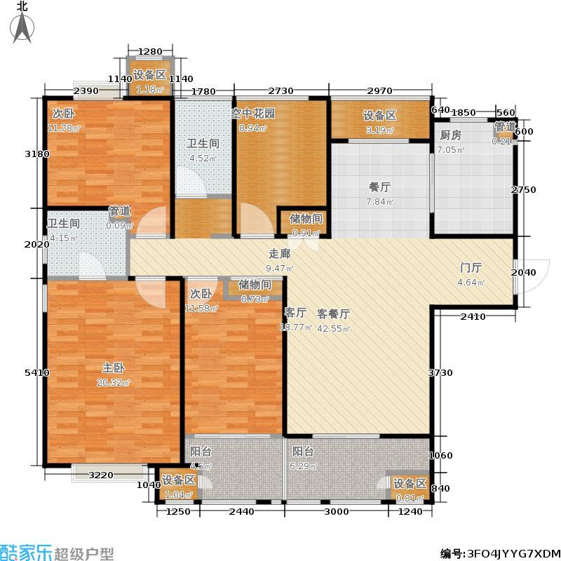 金地自在城143.00㎡四期6号楼标准层B2-1户型