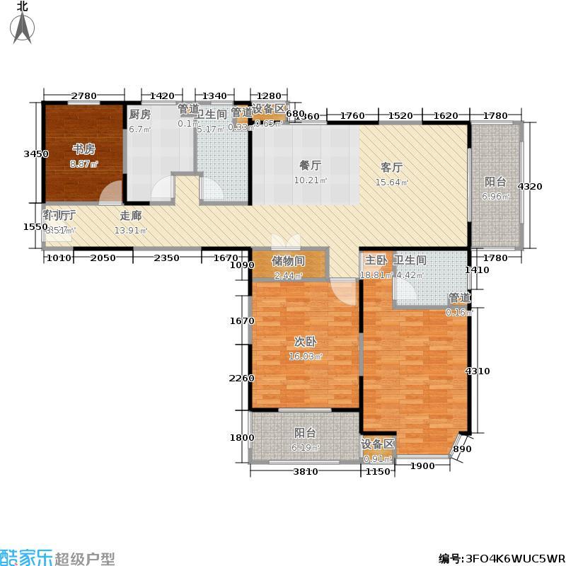 公园养生豪庭130.51㎡高层 三室二厅二卫 奇数层131.91平方米,偶数层130.51平方米户型