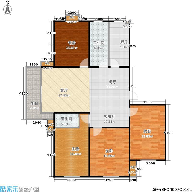 华侨绿洲户型4室1厅2卫1厨