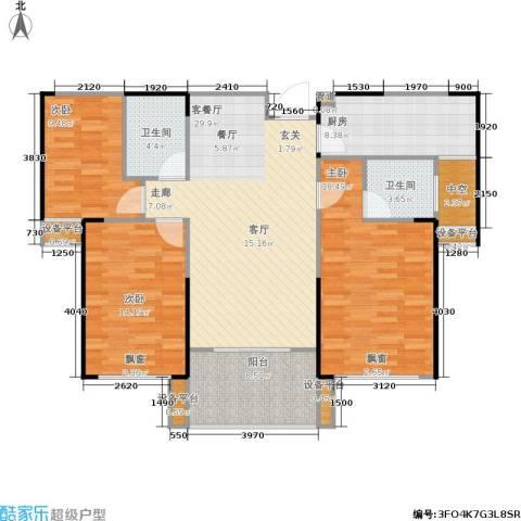 嘉福国际3室1厅2卫1厨138.00㎡户型图