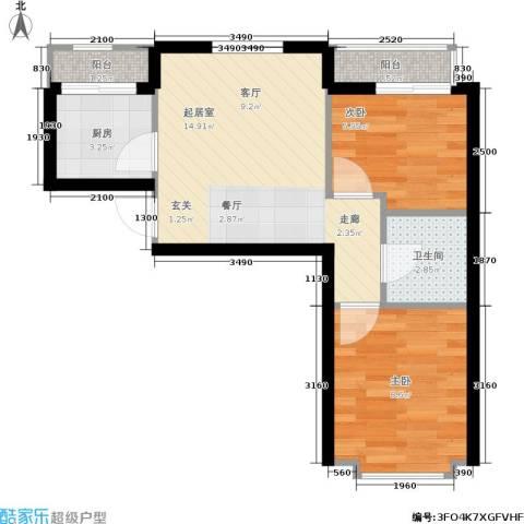 和嘉・佳园2室0厅1卫1厨44.00㎡户型图