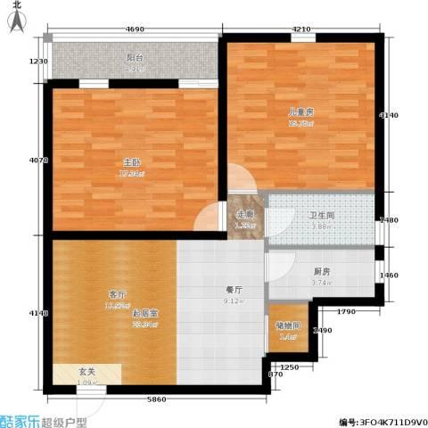 爱建新家园2室0厅1卫1厨98.00㎡户型图