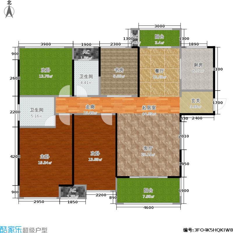中海国际社区143.59㎡R户型四室两厅两卫户型4室2厅2卫