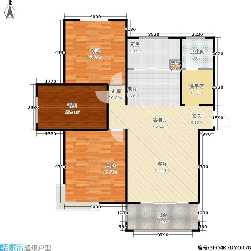 长江新世界三室二厅一卫户型3室2厅1卫