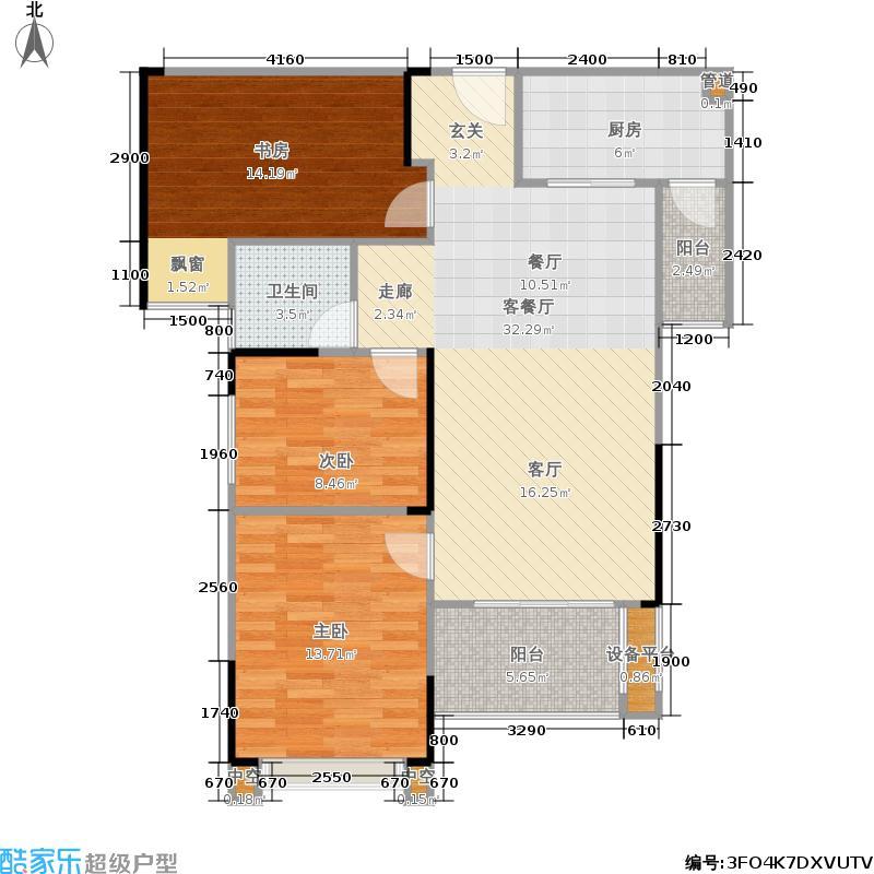 中驰第一城106.33㎡5,6栋(A,B单元02.03户型)户型3室2厅1卫