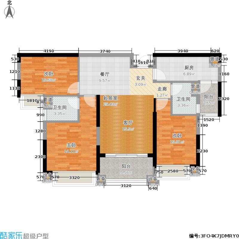 敏捷绿湖国际城114.00㎡05、09、11栋02单位户型3室2厅2卫