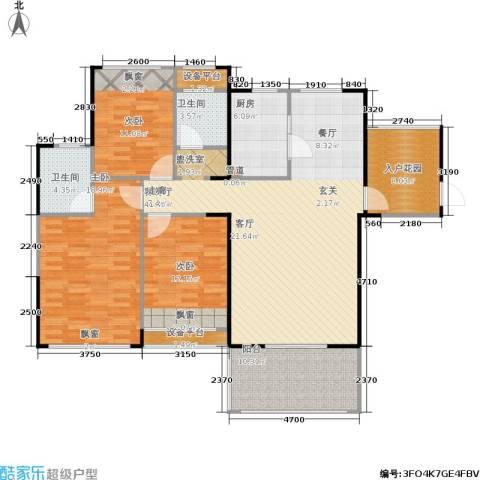 嘉福国际3室1厅2卫1厨160.00㎡户型图