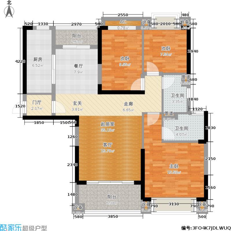 敏捷绿湖国际城119.00㎡05、09、11栋01单位户型3室2厅2卫