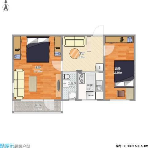 车道沟南里2室1厅1卫1厨61.00㎡户型图