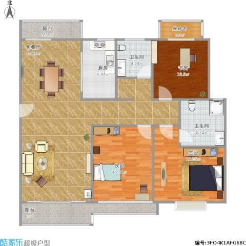阳光绿城3室1厅2卫1厨157.00㎡户型图