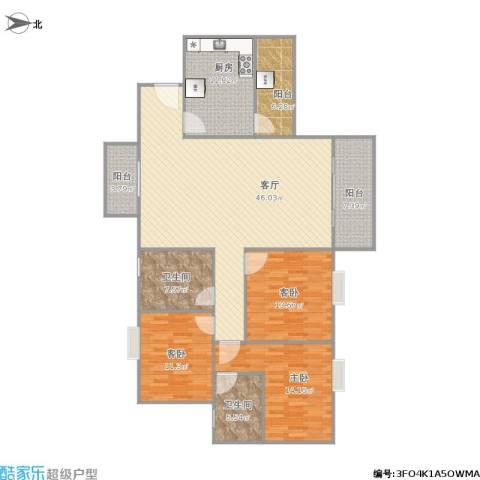 映翠豪庭3室1厅2卫1厨171.00㎡户型图
