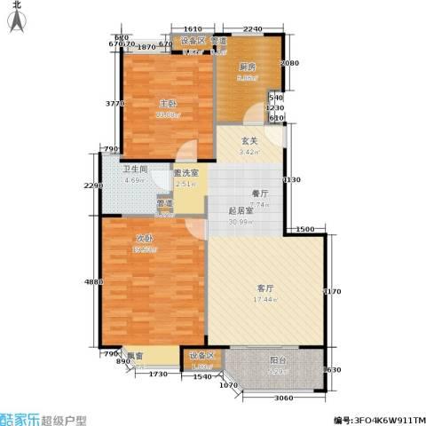 朗庭上郡苑2室0厅1卫1厨89.00㎡户型图