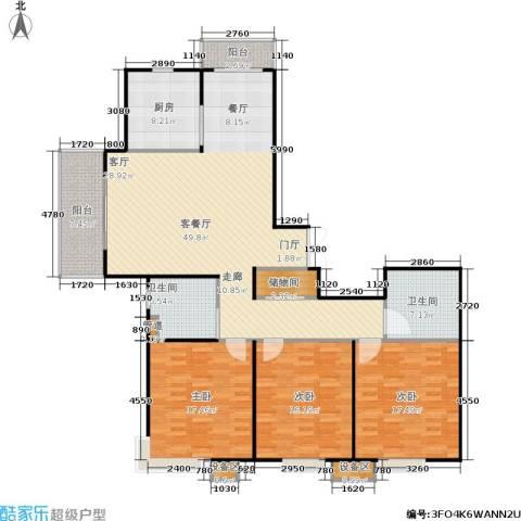上海源花城3室1厅2卫1厨143.00㎡户型图